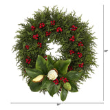 "20"" Cedar, Berries and Magnolia Artificial Christmas Wreath"