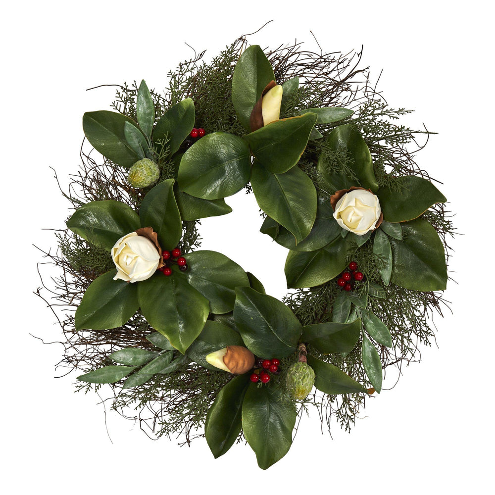 "20"" Cedar, Ruscus and Magnolia with Berries Artificial Wreath"