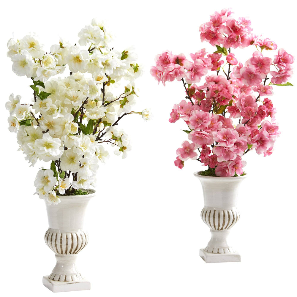 "20"" Cherry Blossom Artificial Arrangement in White Urn (Set of 2)"