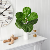 "20"" Fiddle Leaf Artificial Plant in White Planter"