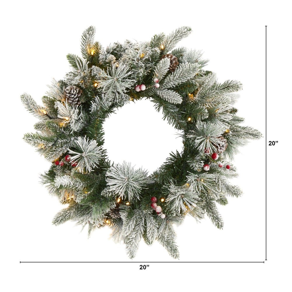 "20"" Flocked Mixed Pine Artificial Christmas Wreath with 50 LED Lights, Pine Cones and Berries"