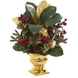 "20"" Magnolia Leaf & Holly Berry Artificial Arrangement in Gold Urn"