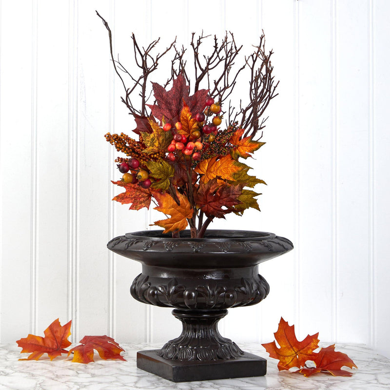 "20"" Maple Leaf and Berries Artificial Flower Bouquet (Set of 3)"