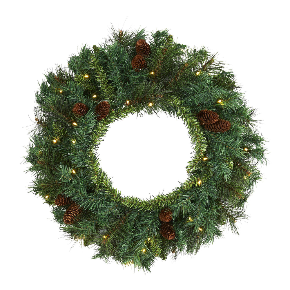 "20"" Mixed Pine and Pinecone Artificial Christmas Wreath with 35 Clear LED Lights"