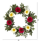 "20"" Olive and Gerber Daisy Artificial Wreath"