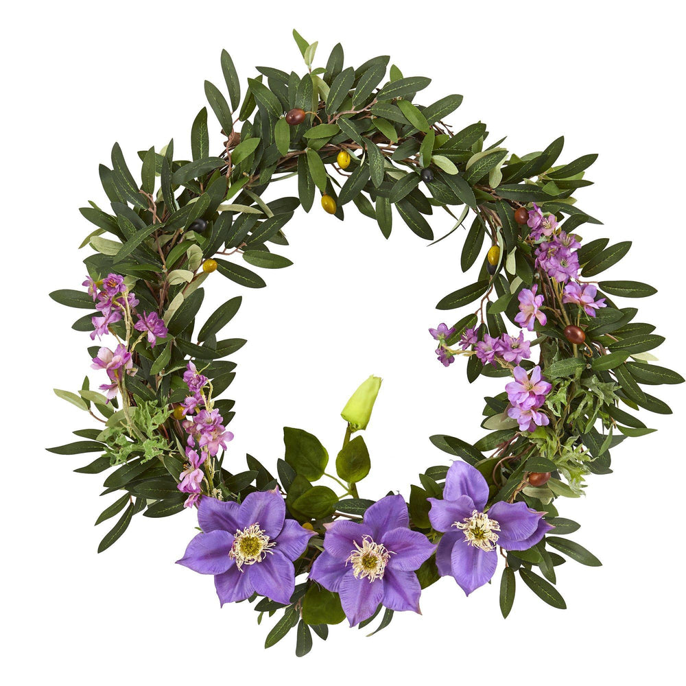 "20"" Olive, Anemone and Dancing Daisy Artificial Wreath"