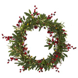 "20"" Olive with Berries Artificial Wreath"
