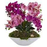 "20"" Phalaenopsis Orchid and Succulent Artificial Arrangement in White Vase"