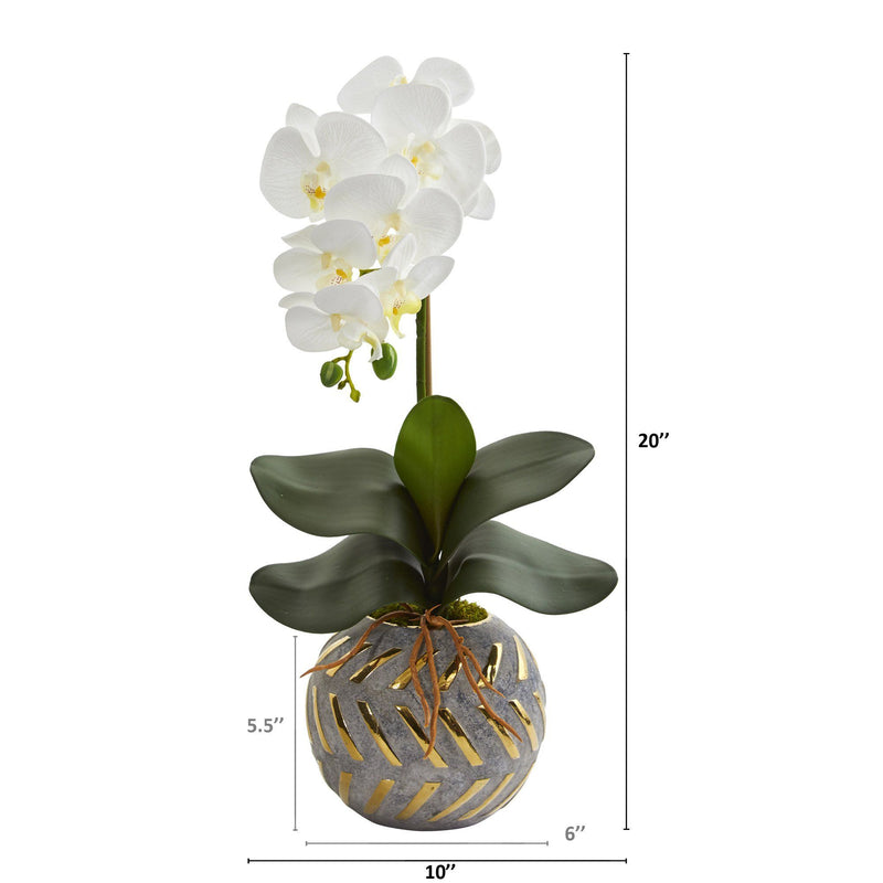 "20"" Phalaenopsis Orchid Artificial Arrangement in Planter with Gold Trimming"