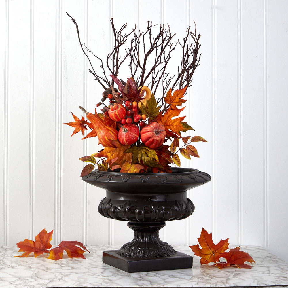 "20"" Pumpkin and Maple Leaf Artificial Flower Bouquet (Set of 2)"
