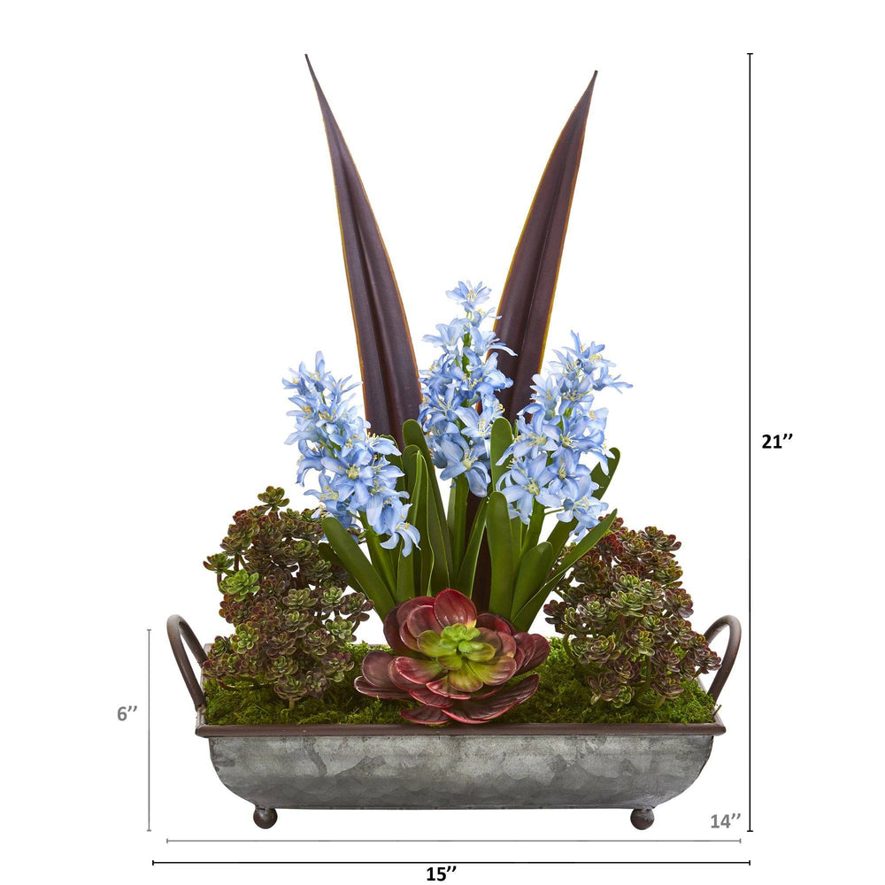 "21"" Hyacinth and Succulent Artificial Plant in Metal Tray"