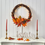"21"" Maple Leaf and Berries Artificial Wreath with 50 Warm White LED Lights"