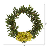 "21"" Olive with Hydrangea Artificial Wreath"