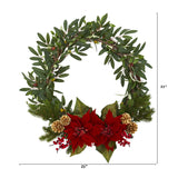 "21"" Olive with Poinsettia, Berry and Pine Artificial Wreath"