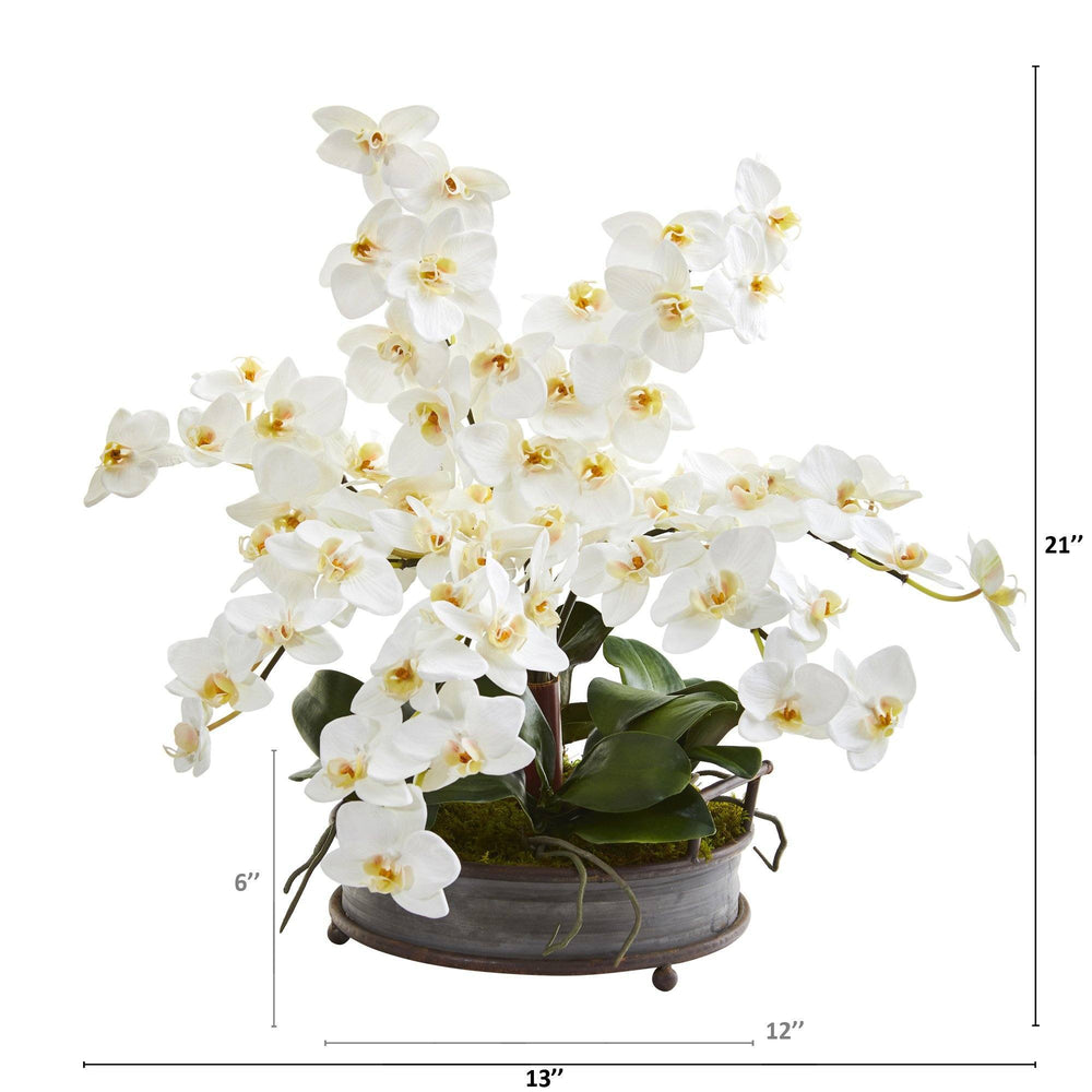"21"" Phalaenopsis Orchid Artificial Arrangement in Metal Tray with Copper Trimming"
