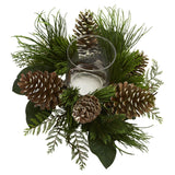 "21"" Pine Cone and Pine Artificial Arrangement Candelabrum"