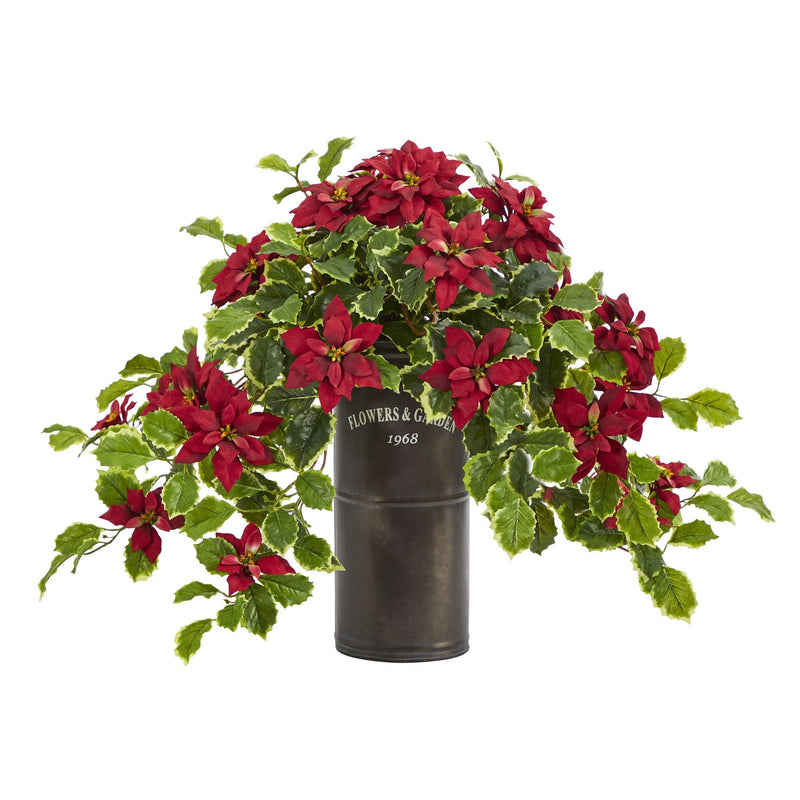 "21"" Poinsettia and Variegated Holly Artificial Plant in Decorative Planter (Real Touch)"