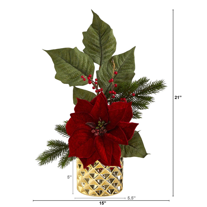 "21"" Poinsettia, Berries and Pine Artificial Arrangement in Gold Vase"