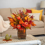 "21"" Pumpkin, Maple Leaf and Sorghum Harvest Artificial Arrangement in Metal Planter"