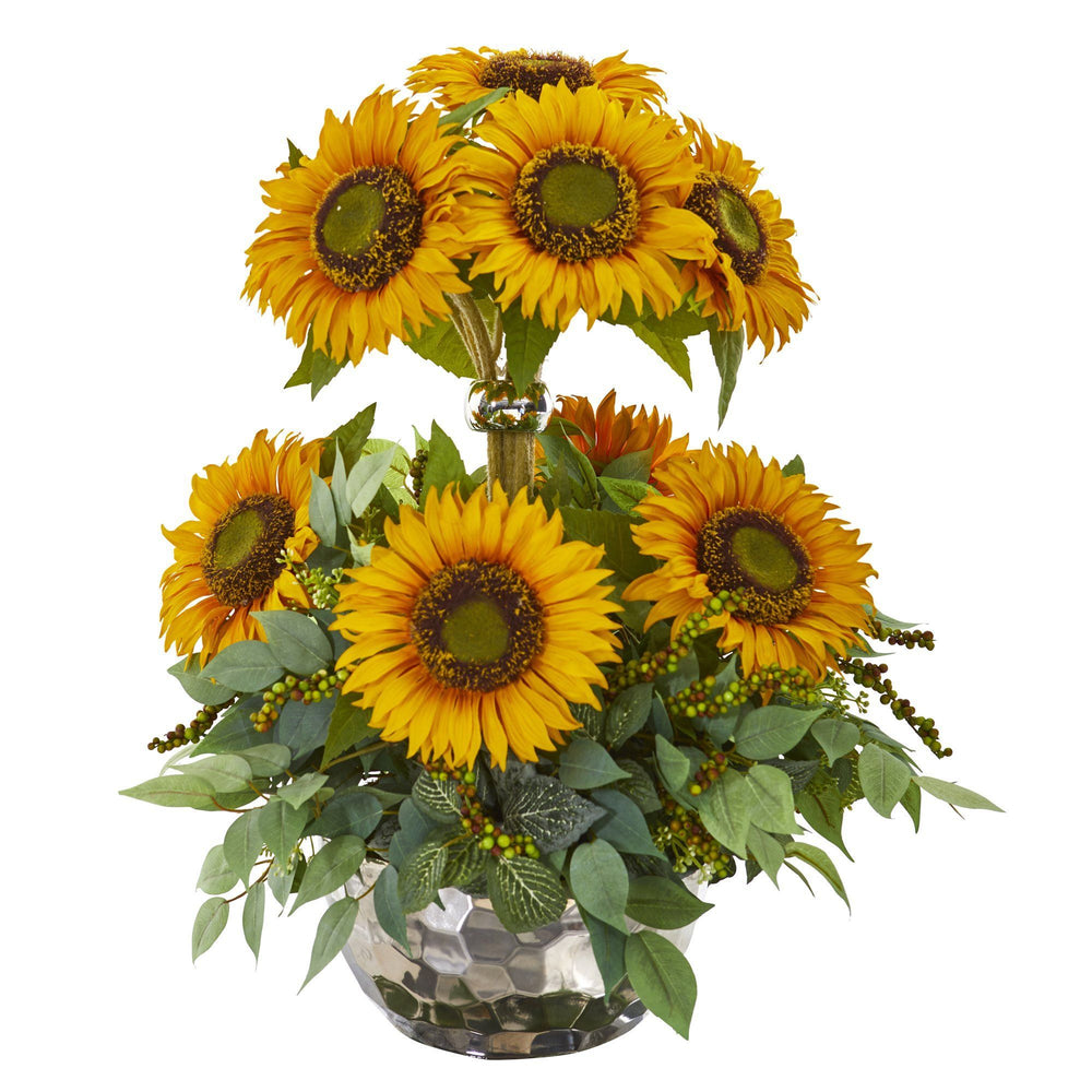 "21"" Sunflower and Mixed Greens Artificial Arrangement in Silver Vase"