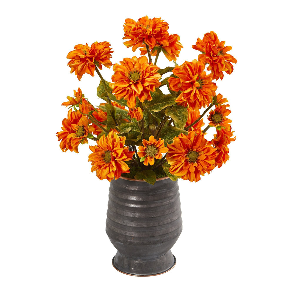 Zinnia Artificial Arrangement In Ribbed Metal Planter Nearly Natural