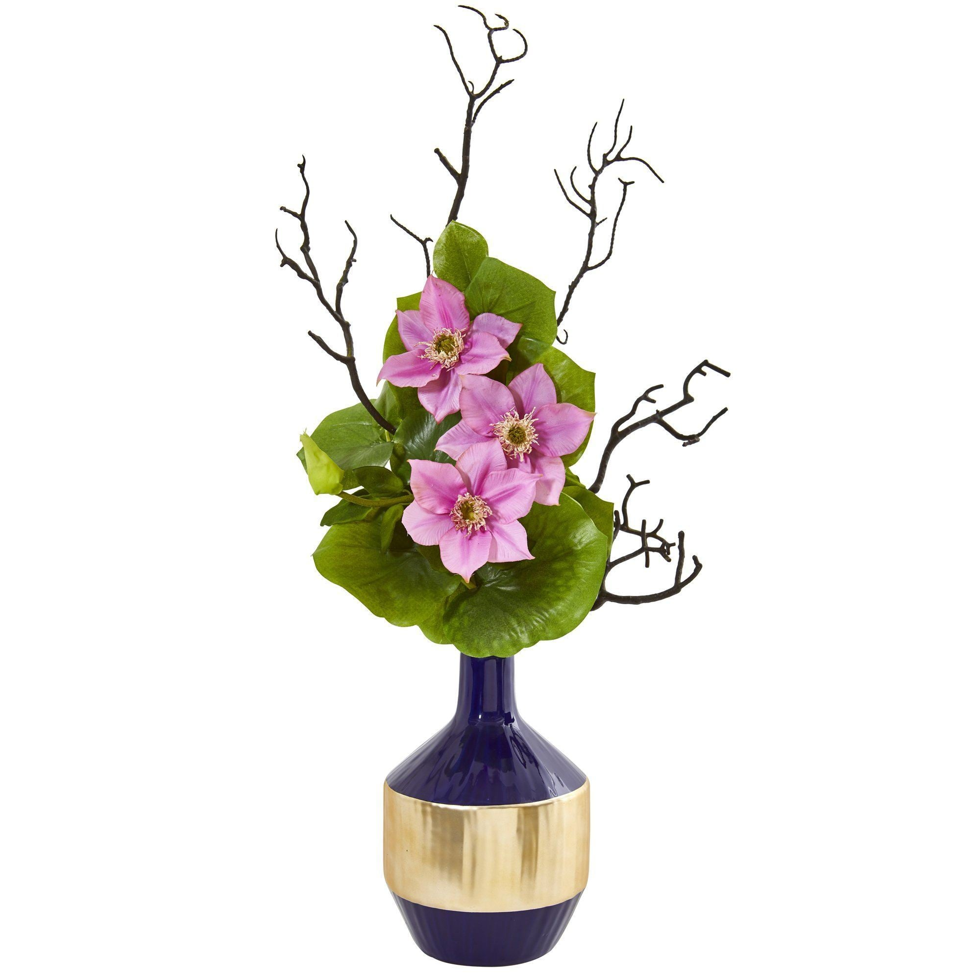 22 Anemone And Lotus Leaf Artificial Arrangement In Vase 1935 Nearly Natural