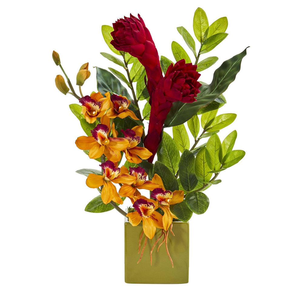 "22"" Cymbidium Orchid, Ginger and Zamioculcas Artificial Arrangement in Green Vase"