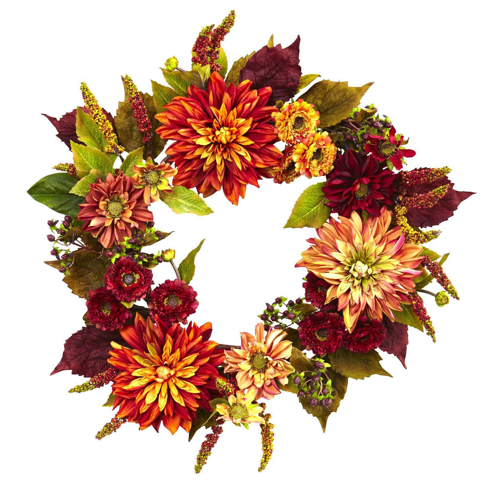 "22"" Dahlia & Mum Wreath - Autumn Beauty"