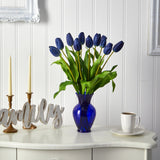 "22"" Dutch Tulip Artificial Arrangement in Blue Colored Vase"