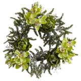 "22"" Iced Cymbidium & Artichoke Wreath"