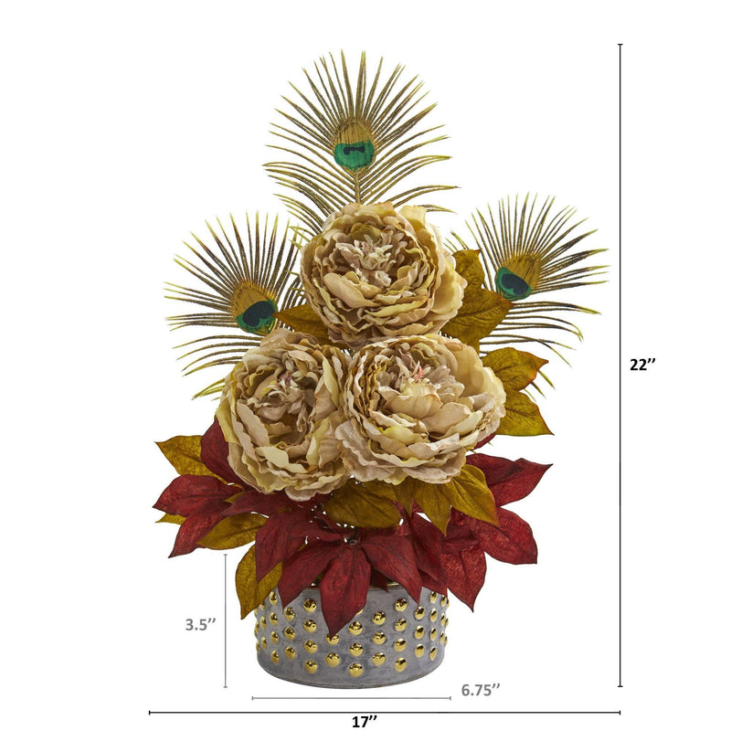 "22"" Peony and Peacock Feather Artificial Arrangement in Bowl with Gold Trimming"