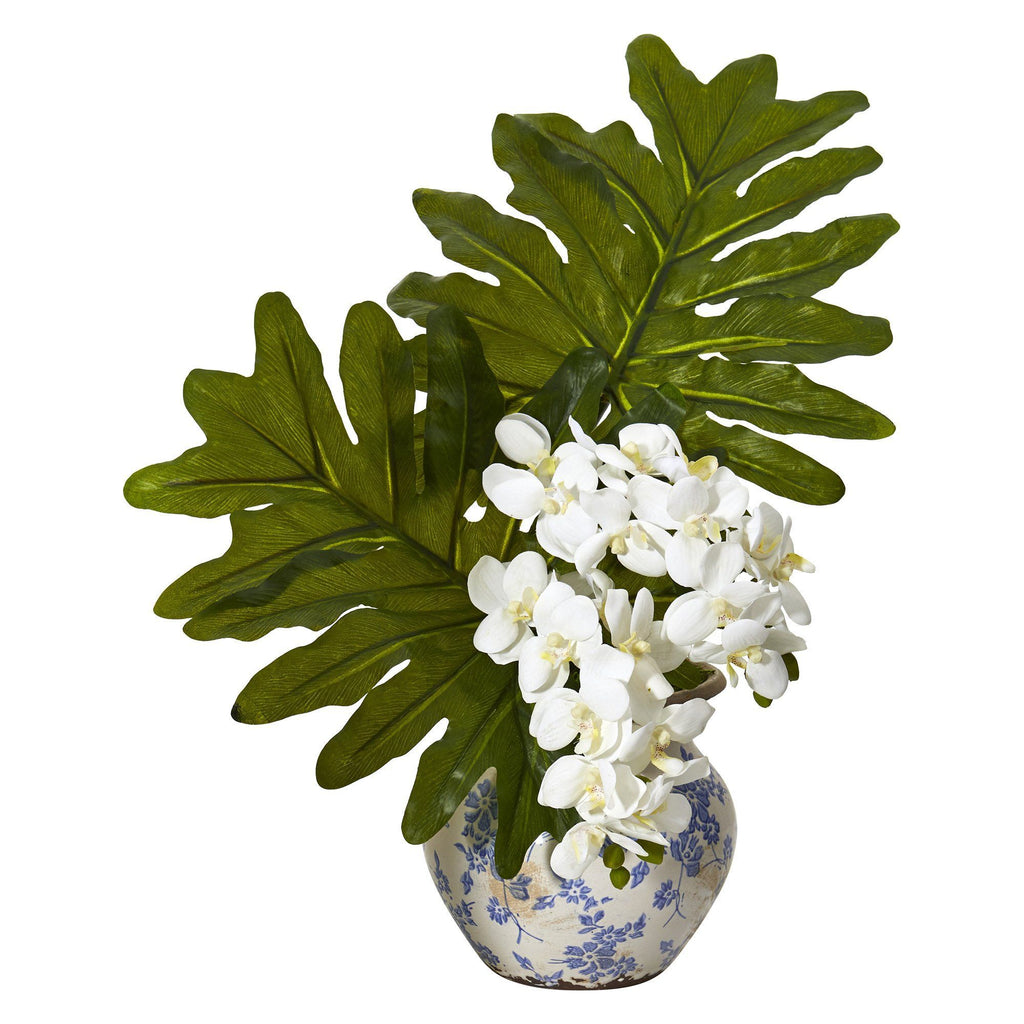 22 Phalaenopsis Orchid And Philo Leaf Artificial Arrangement In Floral Vase Nearly Natural