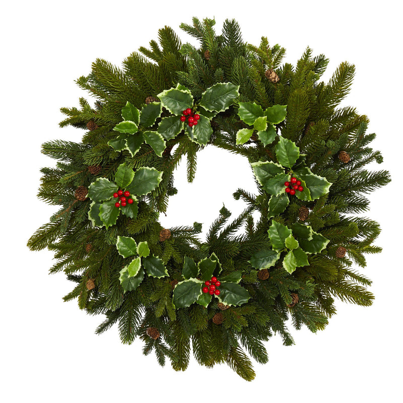 "22"" Pine, Pinecone and Variegated Holly Leaf Artificial Wreath"