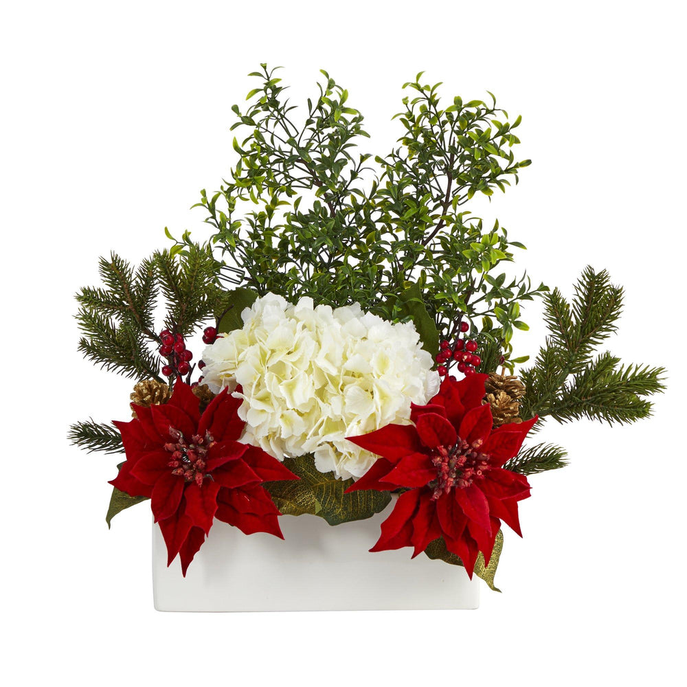 "22"" Poinsettia, Hydrangea and Boxwood Artificial Arrangement in White Vase"