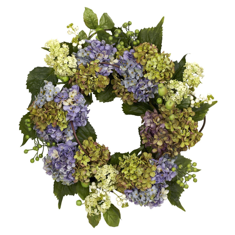 "22"" Artificial Hydrangea Silk Wreath Mixed Greens"
