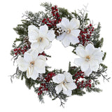 "22"" Snowed Magnolia & Berry Wreath"