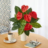 "23"" Anthurium Artificial Plant Artificial Plant in White Planter"