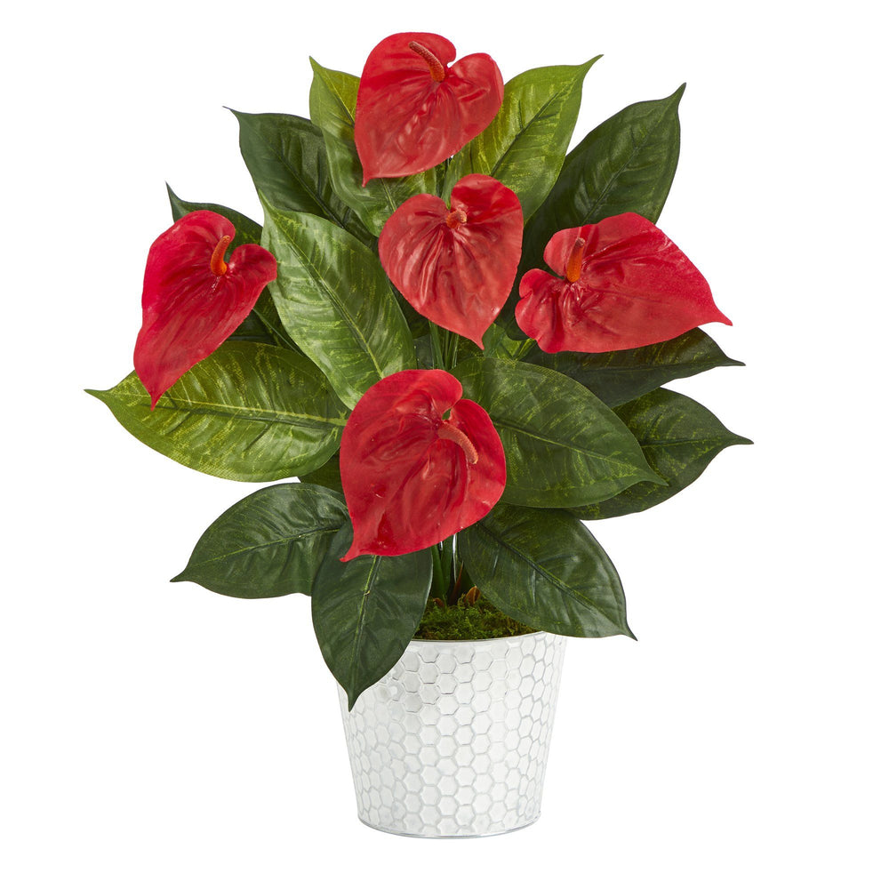 "23"" Anthurium Artificial Plant in Embossed White Planter"
