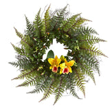 "23"" Assorted Fern and Cattleya Orchid Artificial Wreath"