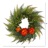 "23"" Assorted Fern and Chrysanthemum Artificial Wreath"