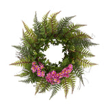 "23"" Assorted Fern and Daisy Artificial Wreath"