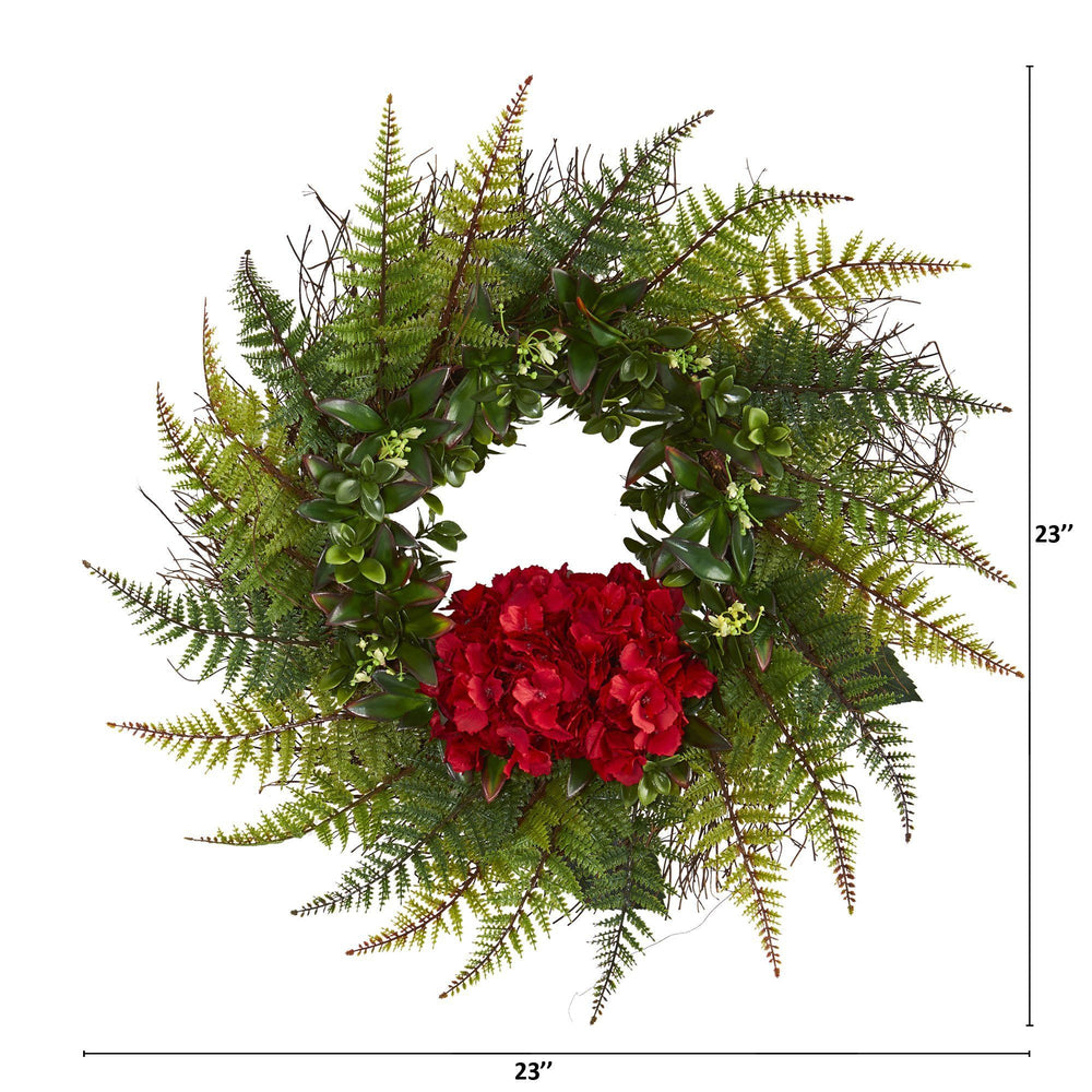 "23"" Assorted Fern and Hydrangea Artificial Wreath"