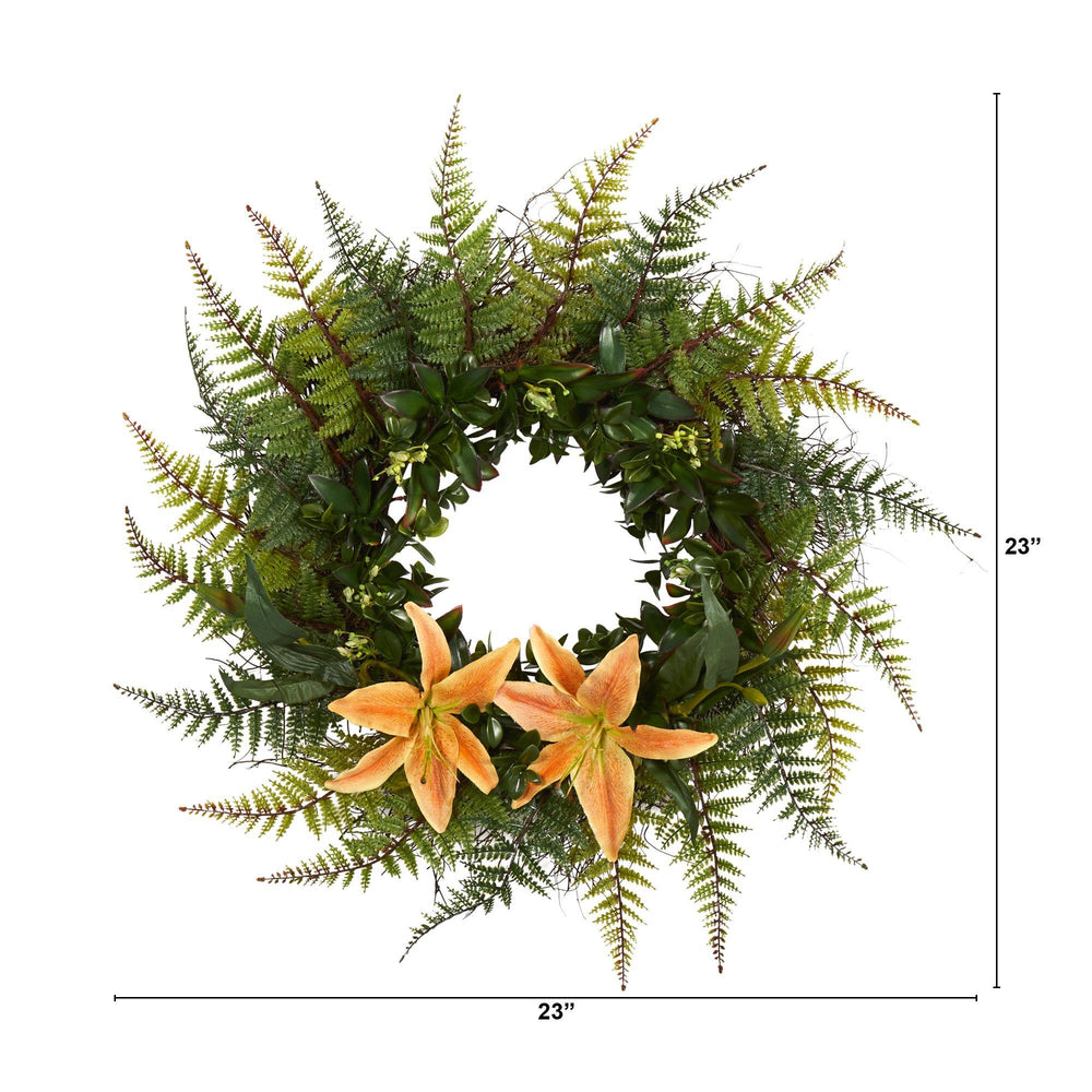 "23"" Assorted Fern and Lily Artificial Wreath"