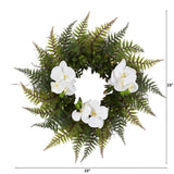 "23"" Assorted Fern and Phalaenopsis Orchid Artificial Wreath"