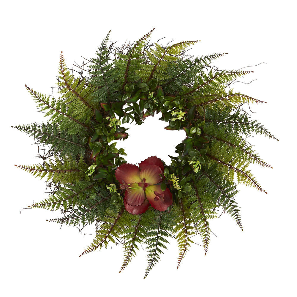 "23"" Assorted Fern and Succulent Artificial Wreath"