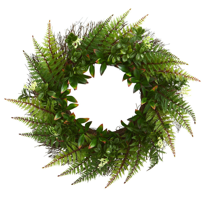 "23"" Assorted Fern Wreath UV Resistant (Indoor/Outdoor)"