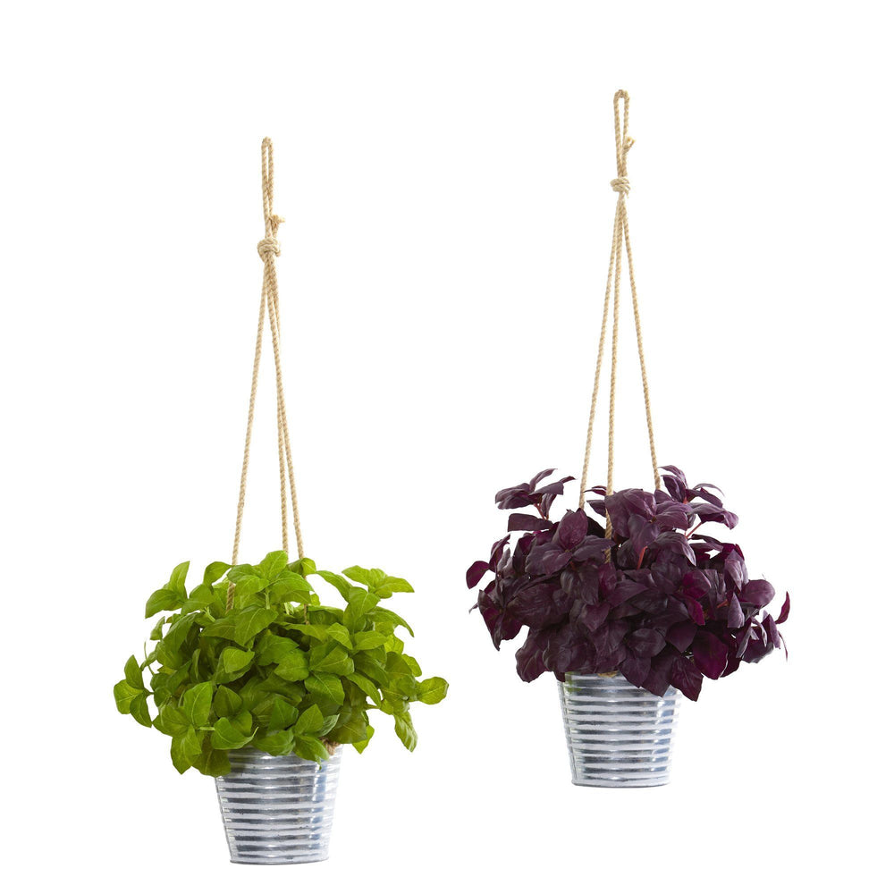 "23"" Basil Artificial Plant in Hanging Bucket (Set of 2)"