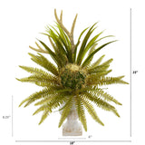 "23"" Cactus and Fern Artificial Plant in White Urn"