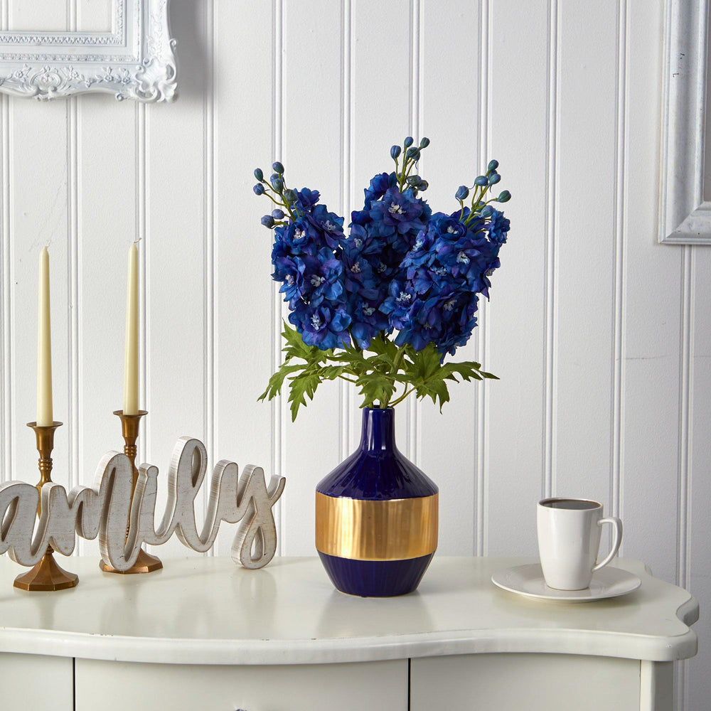 "23"" Delphinium Artificial Arrangement in Blue and Gold Designer Vase"