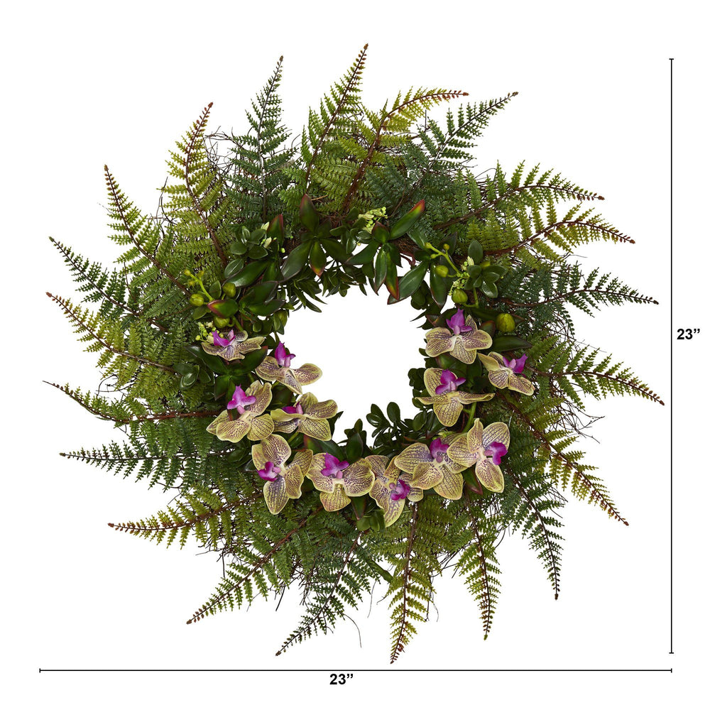 "23"" Fern and Phalaenopsis Orchid Artificial Wreath"